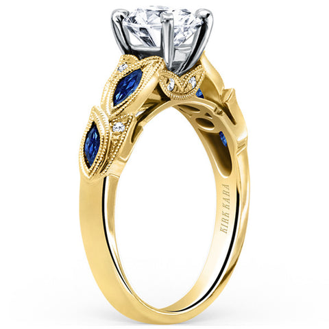 "Kirk Kara Blue Sapphire ""Dahlia"" Marquise Shaped Leaf Styled Engagement Ring in 18 Karat Yellow Gold. Style K155BDRY"