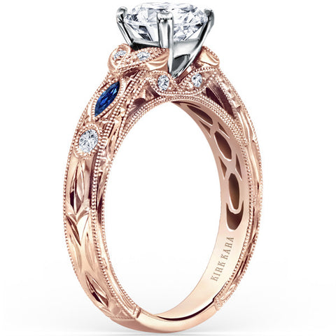 "Kirk Kara 18K Rose Gold ""Dahlia"" Marquise Cut Blue Sapphire Diamond Engagement Ring. Style K1120SDCP-R"