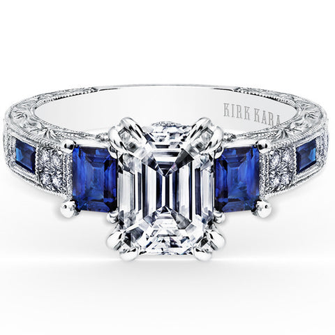 "Kirk Kara ""Charlotte"" Blue Sapphire & Diamond Three Stone Engagement Ring. Style K1384SDE-R"