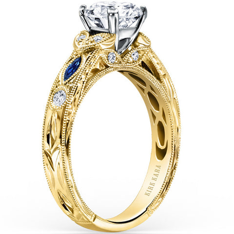 "Kirk Kara 18K Yellow Gold ""Dahlia"" Marquise Cut Blue Sapphire Diamond Engagement Ring. Style K1120SDC-R"