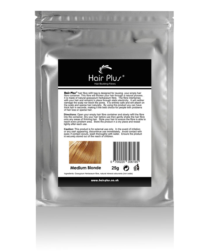 Hair Plus Medium Blonde Hair Fibre Refill Bag 25g