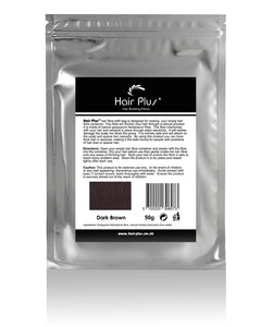 Hair Plus Dark Brown Hair Fibre Refill Bag 25g, 50g,100g, 150g,300g,600g