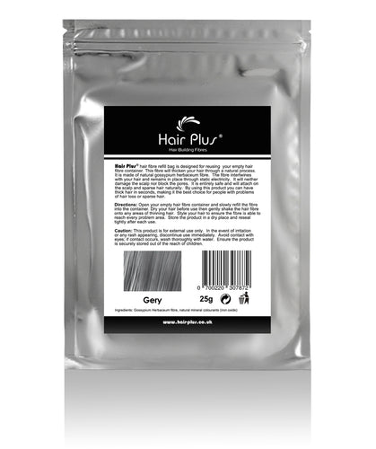 Hair Plus Grey Hair Fibre Refill Bag 25g, 50g,100g, 150g,300g,600g