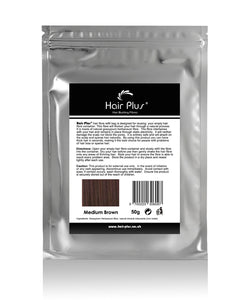 Hair Plus Medium Brown Hair Fibre Refill Bag 25g, 50g,100g, 150g,300g,600g