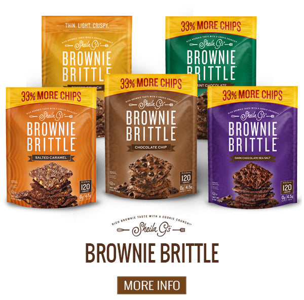 Bags of Sheila G's Original Brownie Brittle with a button for more information