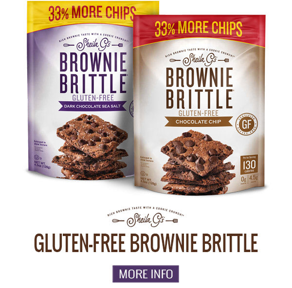 Two bags of Sheila G's Gluten-Free Brownie Brittle and a button for more information