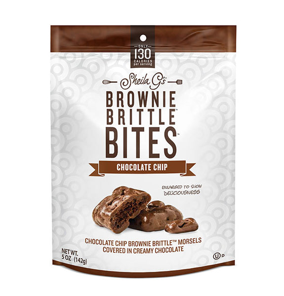 Five ounce bag of Chocolate Chip Brownie Brittle Bites