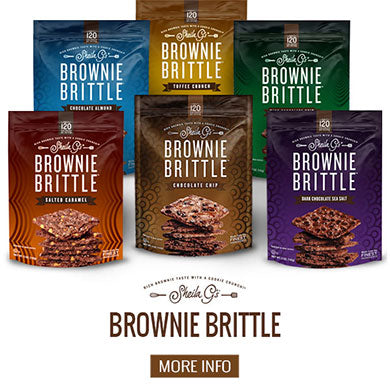 Six bags of Sheila G's Original Brownie Brittle with a button for more information