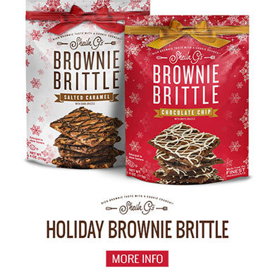 Two bags of Sheila G's Holiday Brownie Brittle and a button for more information