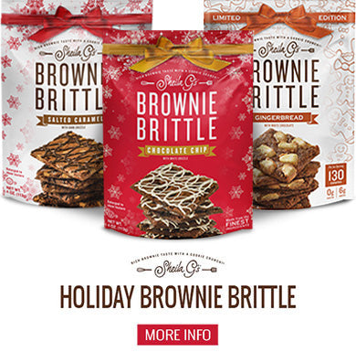 Holiday Brownie Brittle 3 flavors and a button for more information