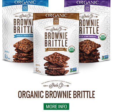Three bags of Sheila G's Organic Brownie Brittle and a button for more information