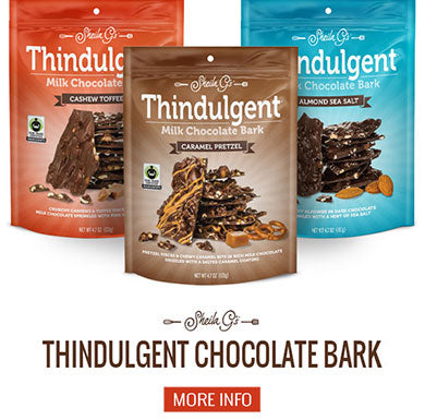 Three bags of Sheila G's Thindulgent Chocolate Bark and a button for more information
