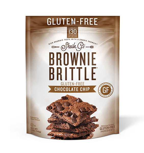 Five ounce bag of Gluten-Free Chocolate Chip Brownie Brittle