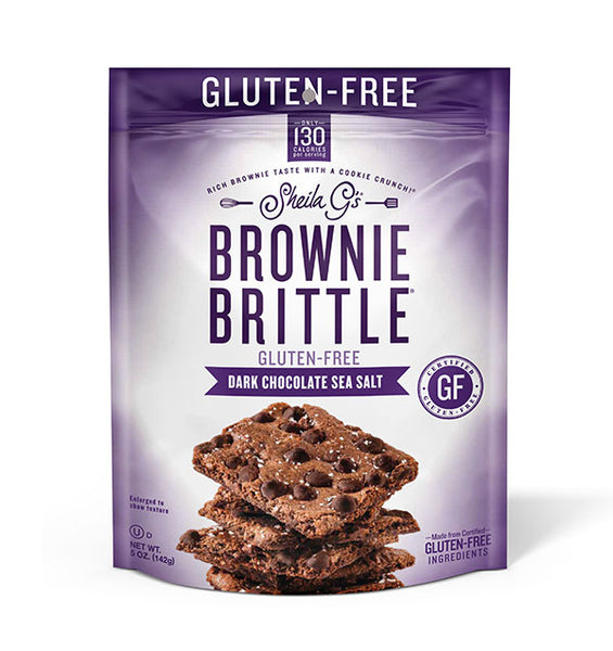 Five ounce bag of Gluten-Free Dark Chocolate Sea Salt Brownie Brittle