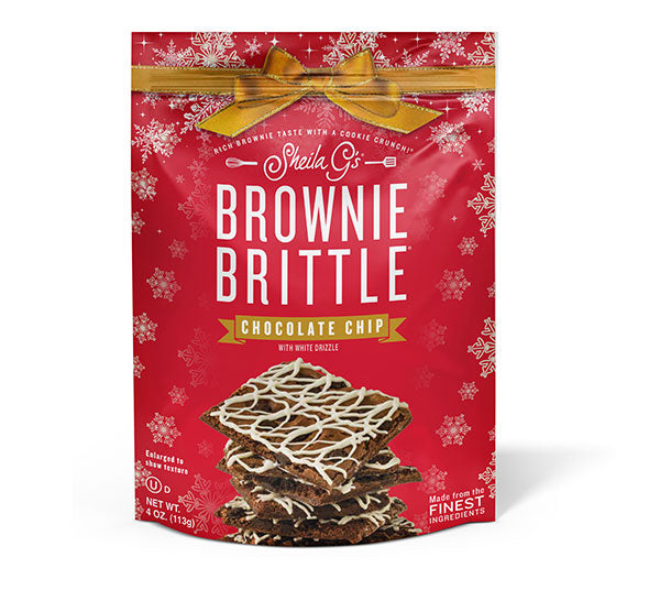Four ounce bag of Holiday Chocolate Chip Brownie Brittle