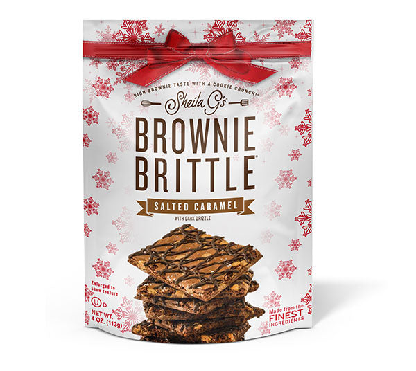 Four ounce bag of Holiday Salted Caramel Brownie Brittle