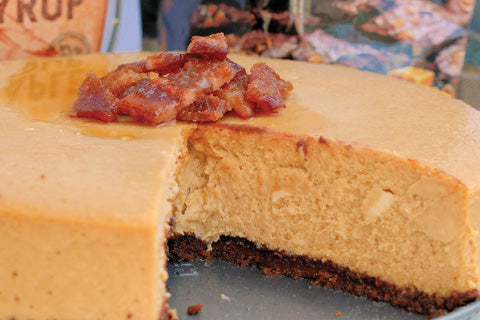 Candied Bacon Maple Cheesecake with a Brownie Brittle™ Crust