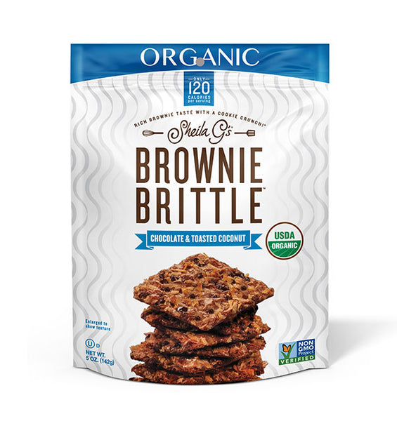 Five ounce bag of Organic Chocolate and Toasted Coconut Brownie Brittle