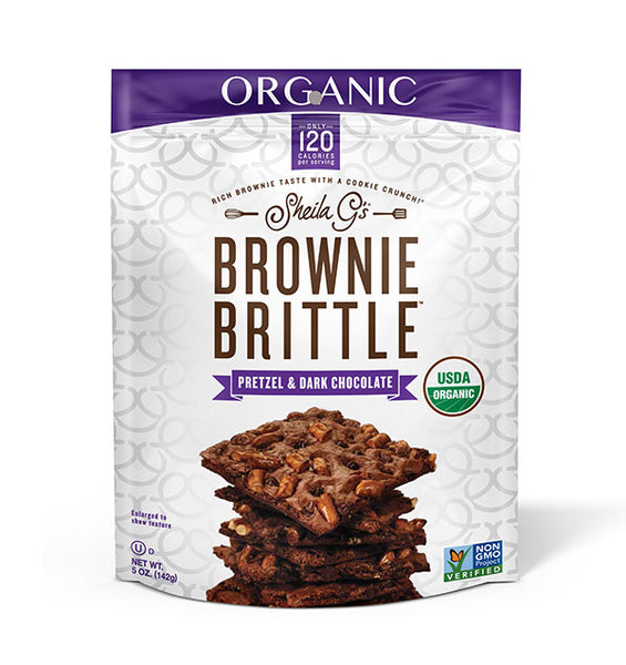 Five ounce bag of Organic Pretzel and Dark Chocolate Brownie Brittle