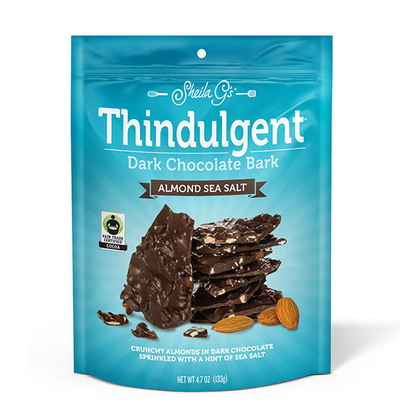 4.7 ounce bag of Thindulgent Almond Sea Salt Dark Chocolate Bark