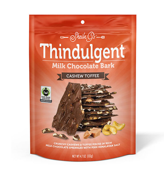4.7 ounce bag of Thindulgent Cashew Toffee Milk Chocolate Bark