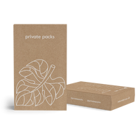 Private Packs Recyclable Kraft Boxes with fig leaf drawing design on the front