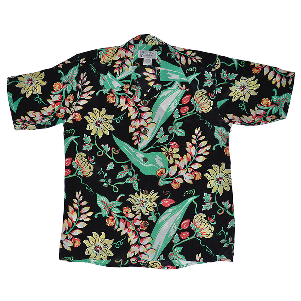 Vintage Floral Hawaiian Shirt - Black