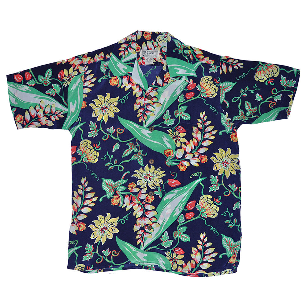 Vintage Floral Hawaiian Shirt - Navy