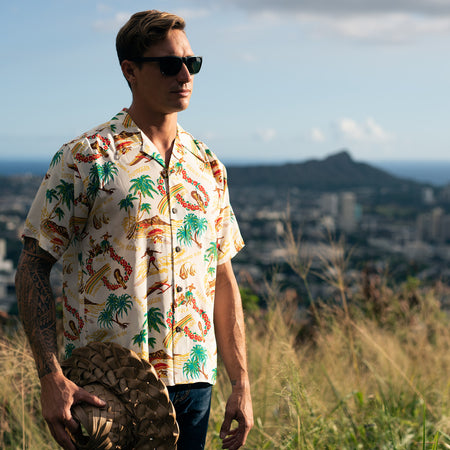Men's Surfboard Ride Hawaiian Shirt