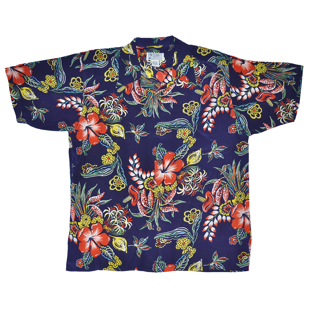 Junior Puamana Hawaiian Shirt - Navy