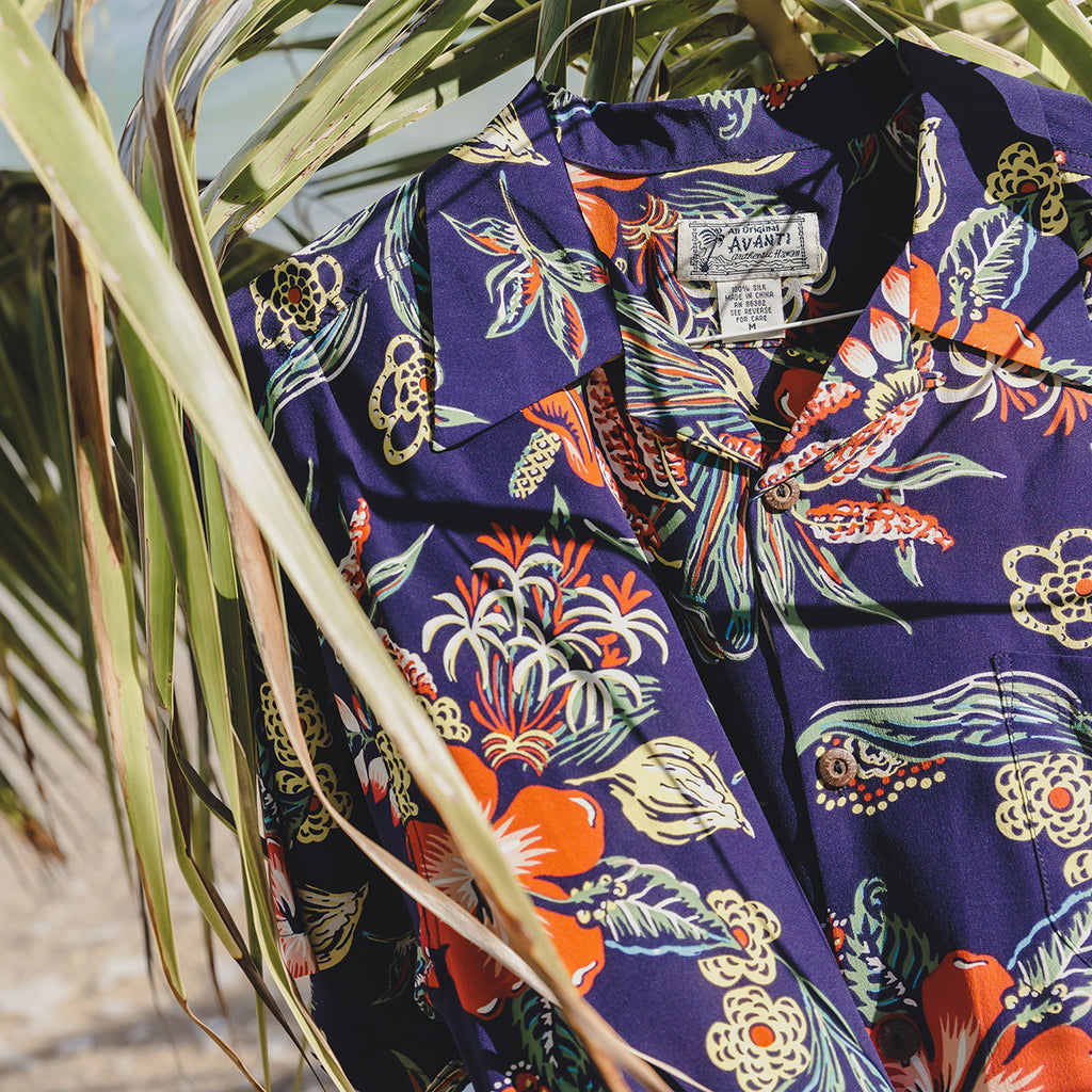 Men's Puamana Hawaiian Shirt - Navy