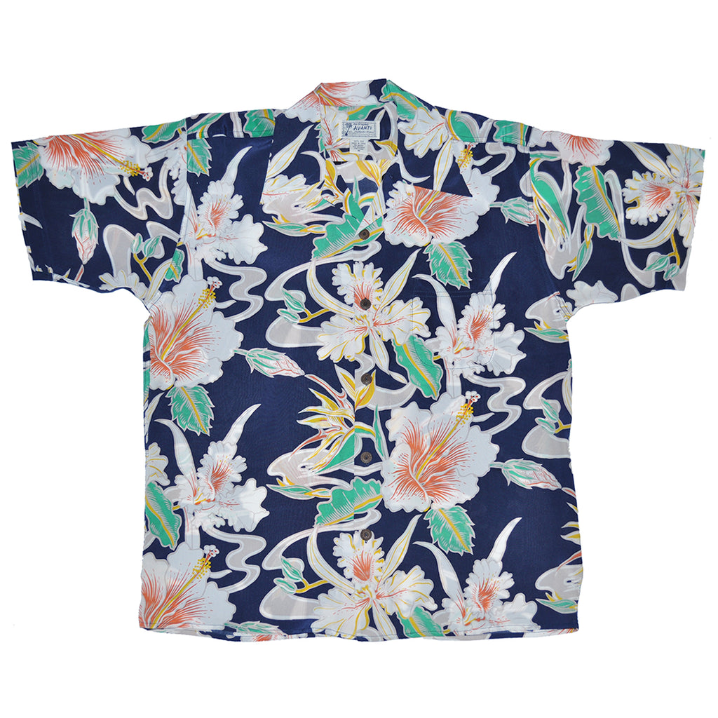 Men's Tropical Flow Hawaiian Shirt - Navy