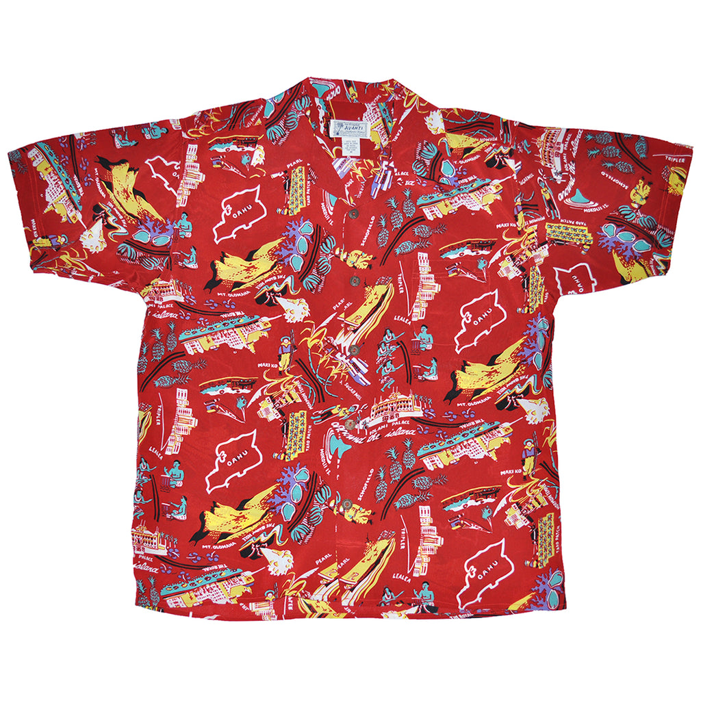 Men's Oahu Scenes Hawaiian Shirt - Red