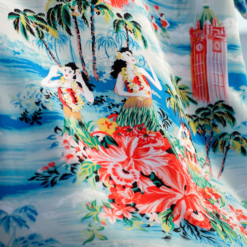Men's Escape to Paradise Hawaiian Shirt - Sky Blue