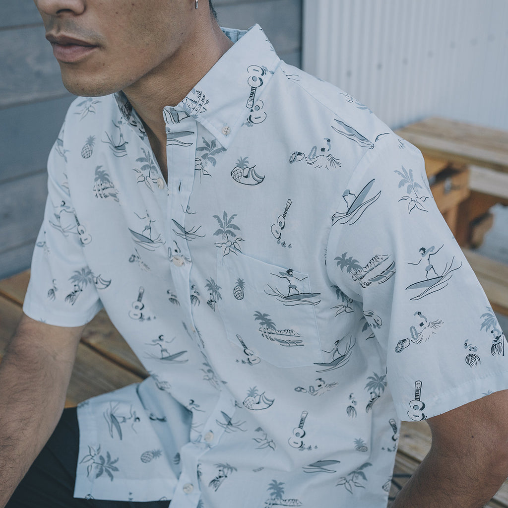 Men's Kaimana Aloha Shirt - Pale Blue