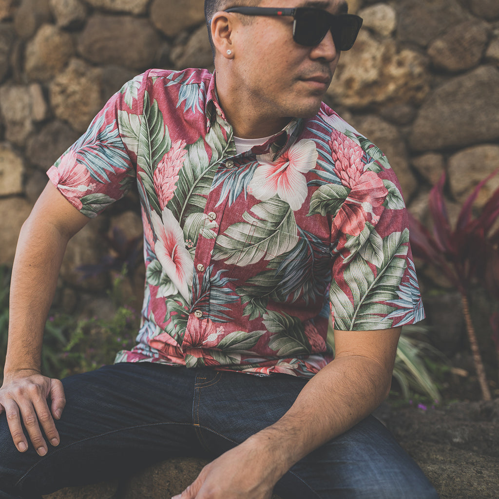 Men's Botanical Isle Aloha Shirt - Bordeaux