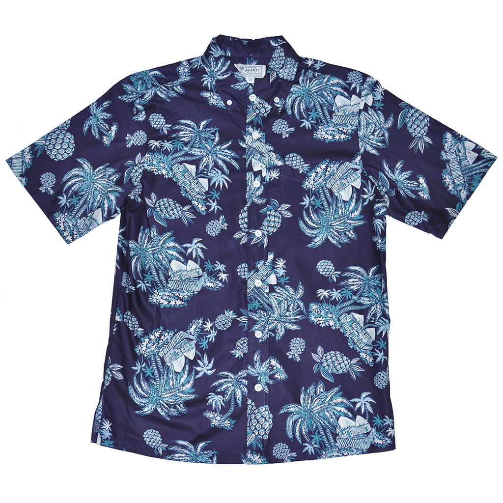 Men's Tahiti Aloha Shirt - Navy