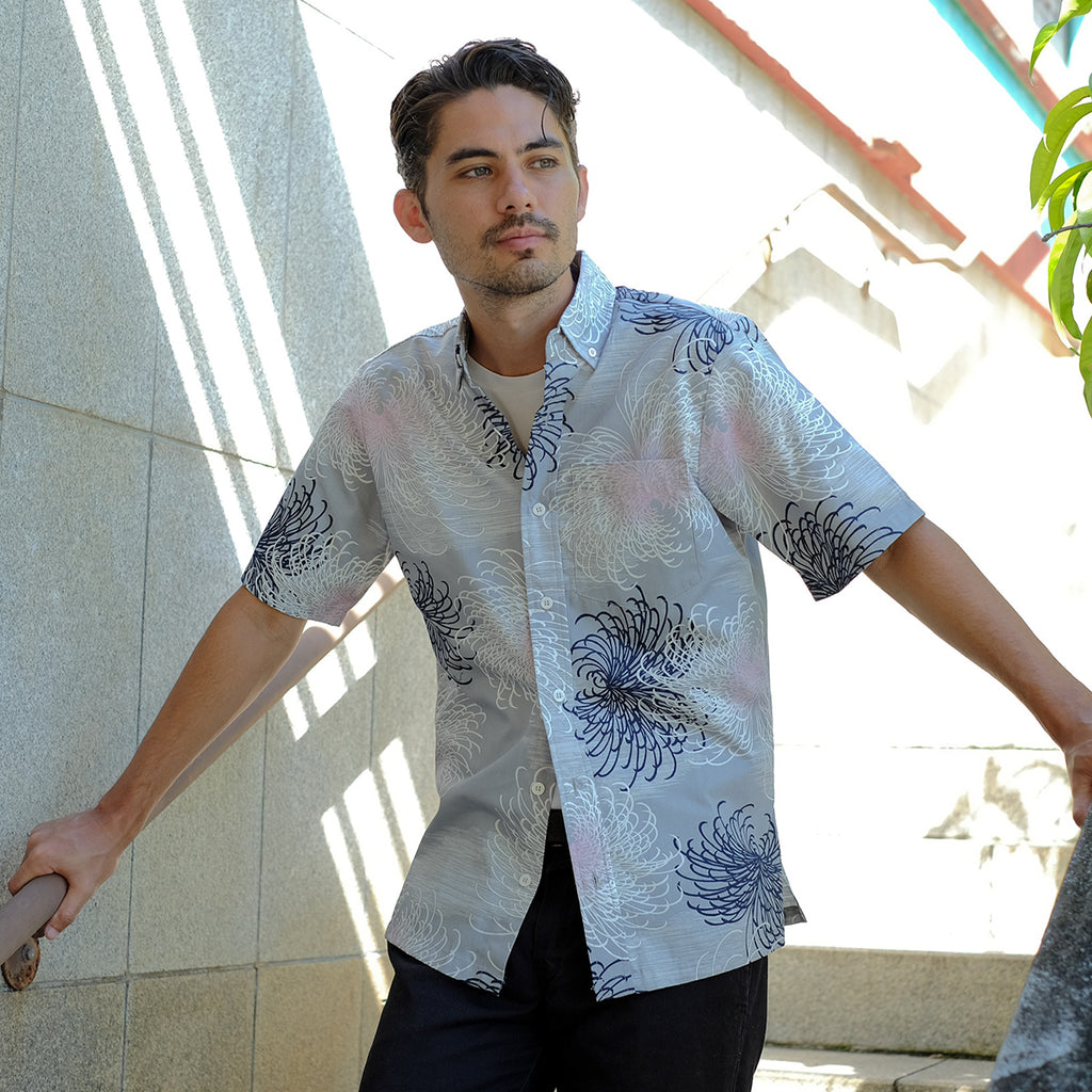 Men's Fireworks Aloha Shirt - Grey