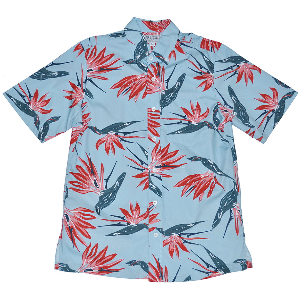 Men's Paradise Sketch Aloha Shirt - Sky Blue