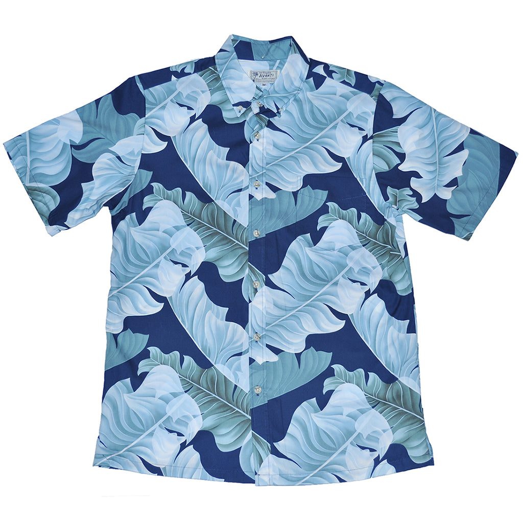 Men's Banana Leaf Aloha Shirt - Navy