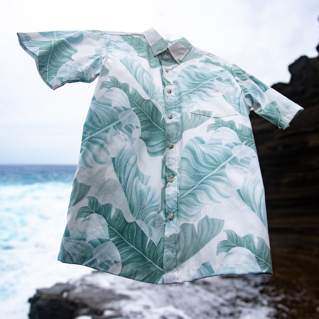 Men's Banana Leaf Aloha Shirt - White