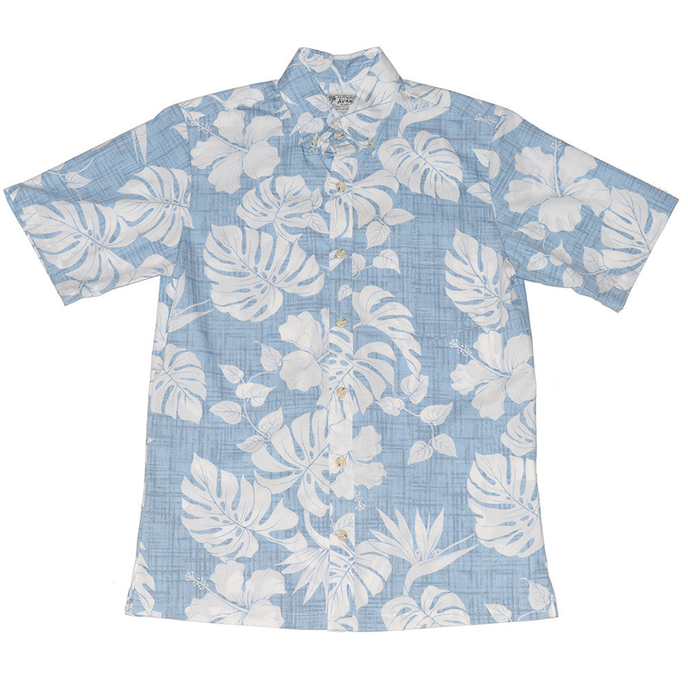 Men's Pareau Aloha Shirt - Sky Blue