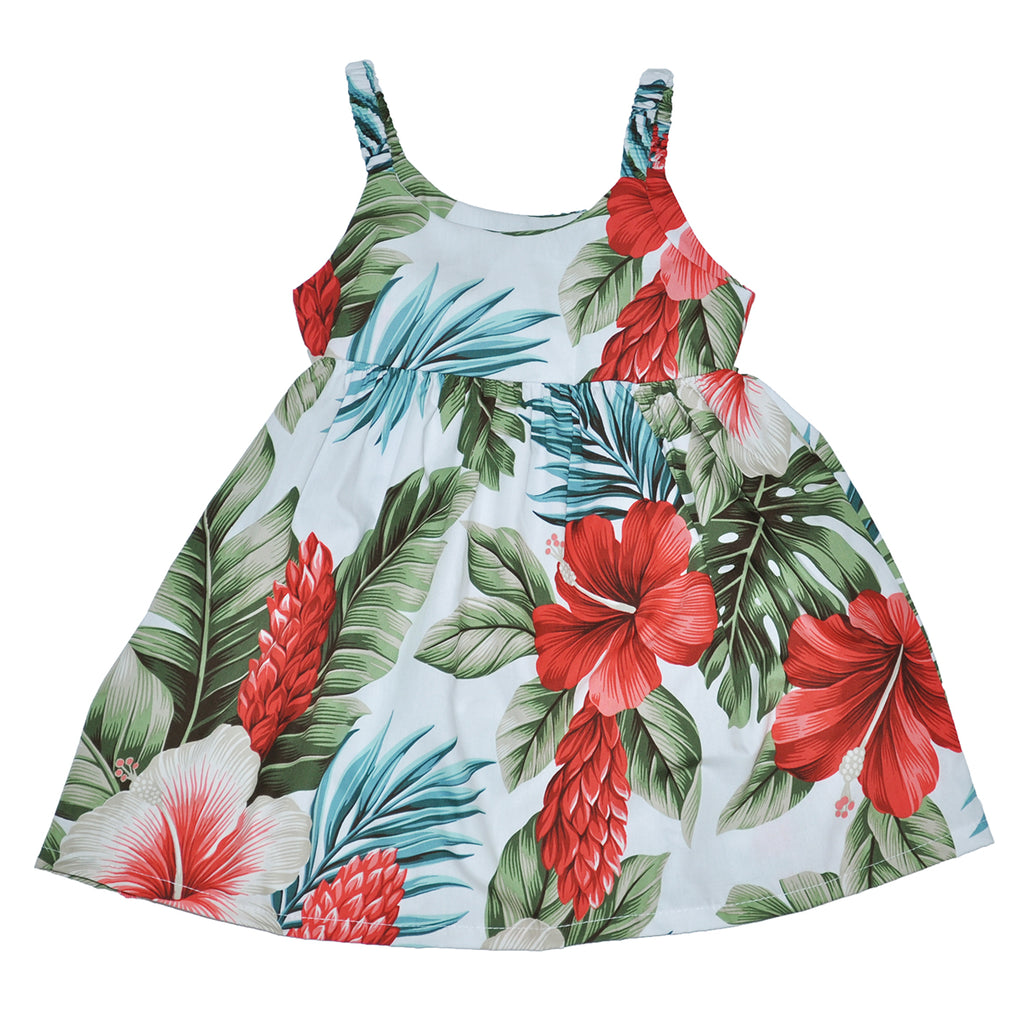Girl's Botanical Isle Elastic Strap Sun Dress - Front