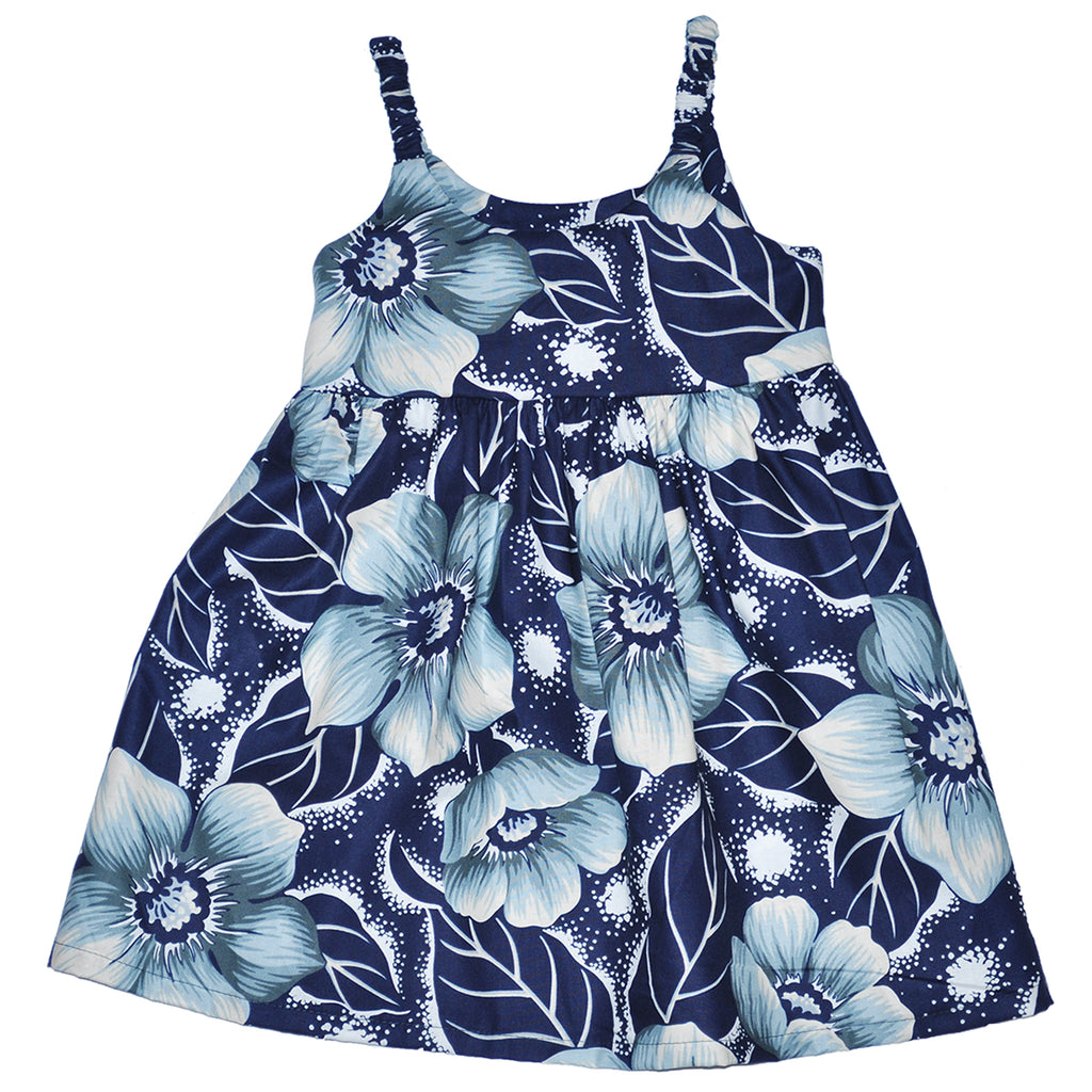 Girl's Pua Elastic Strap Sun Dress - Navy