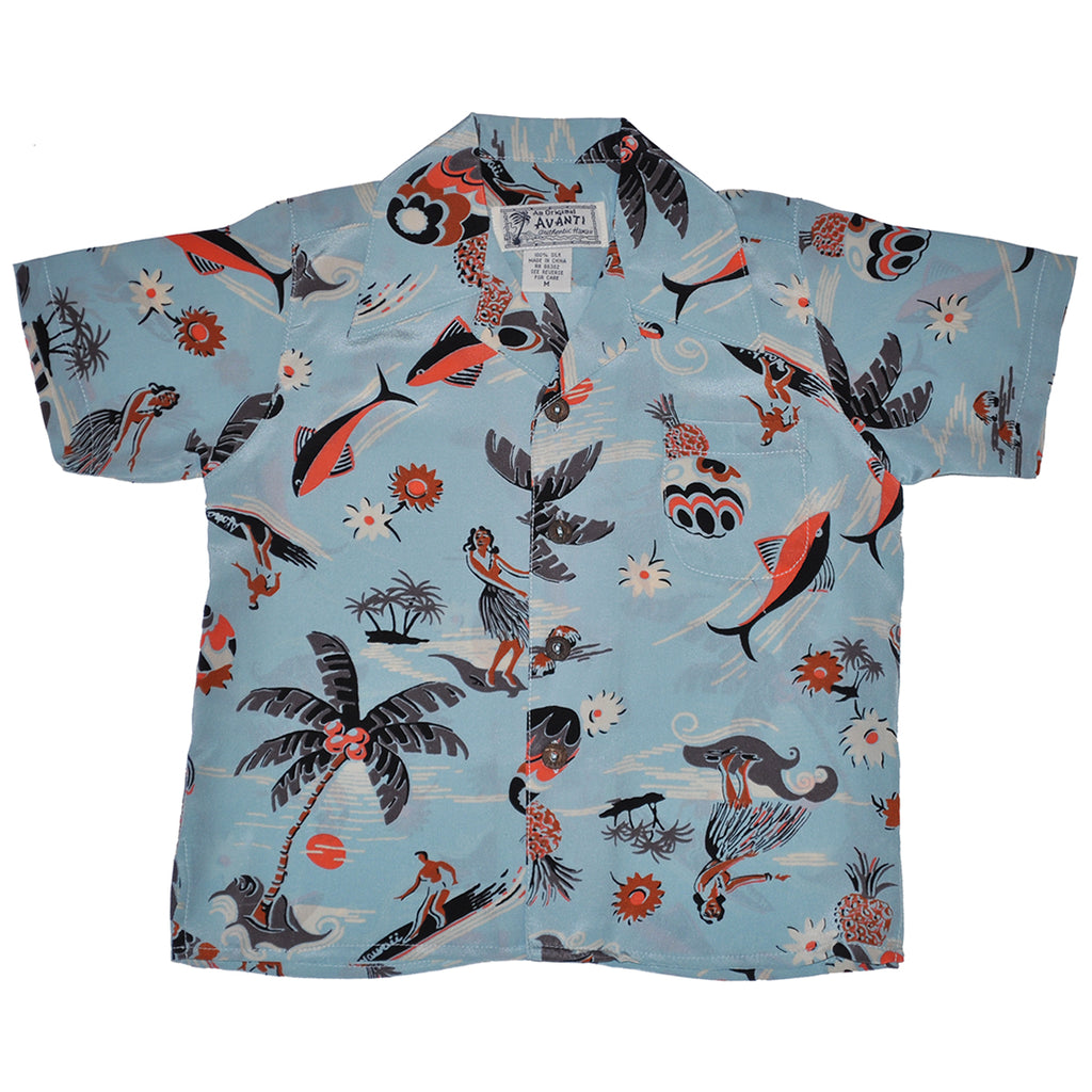 Boy's Surf N Hula Hawaiian Shirt