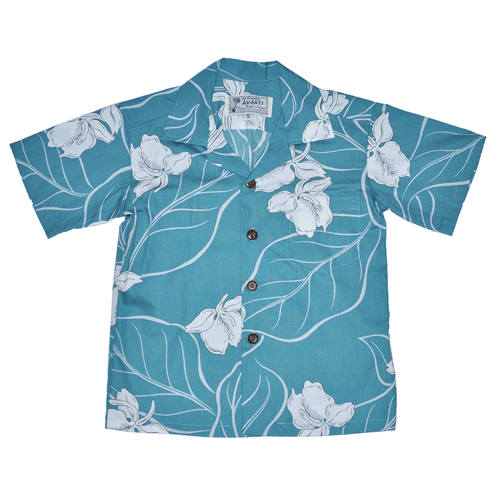 Boy's White Ginger Aloha Shirt