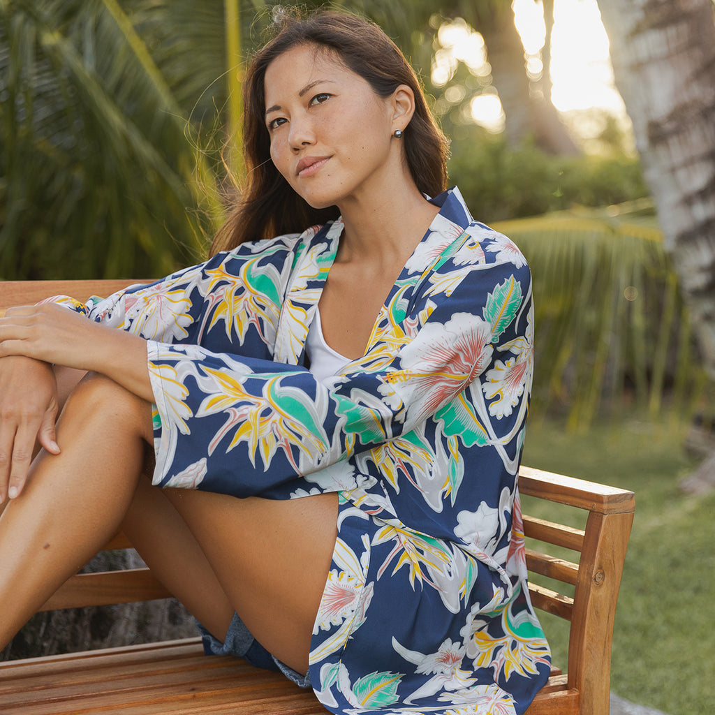 Women's Tropical Flow Kimono Cover-Up - Navy