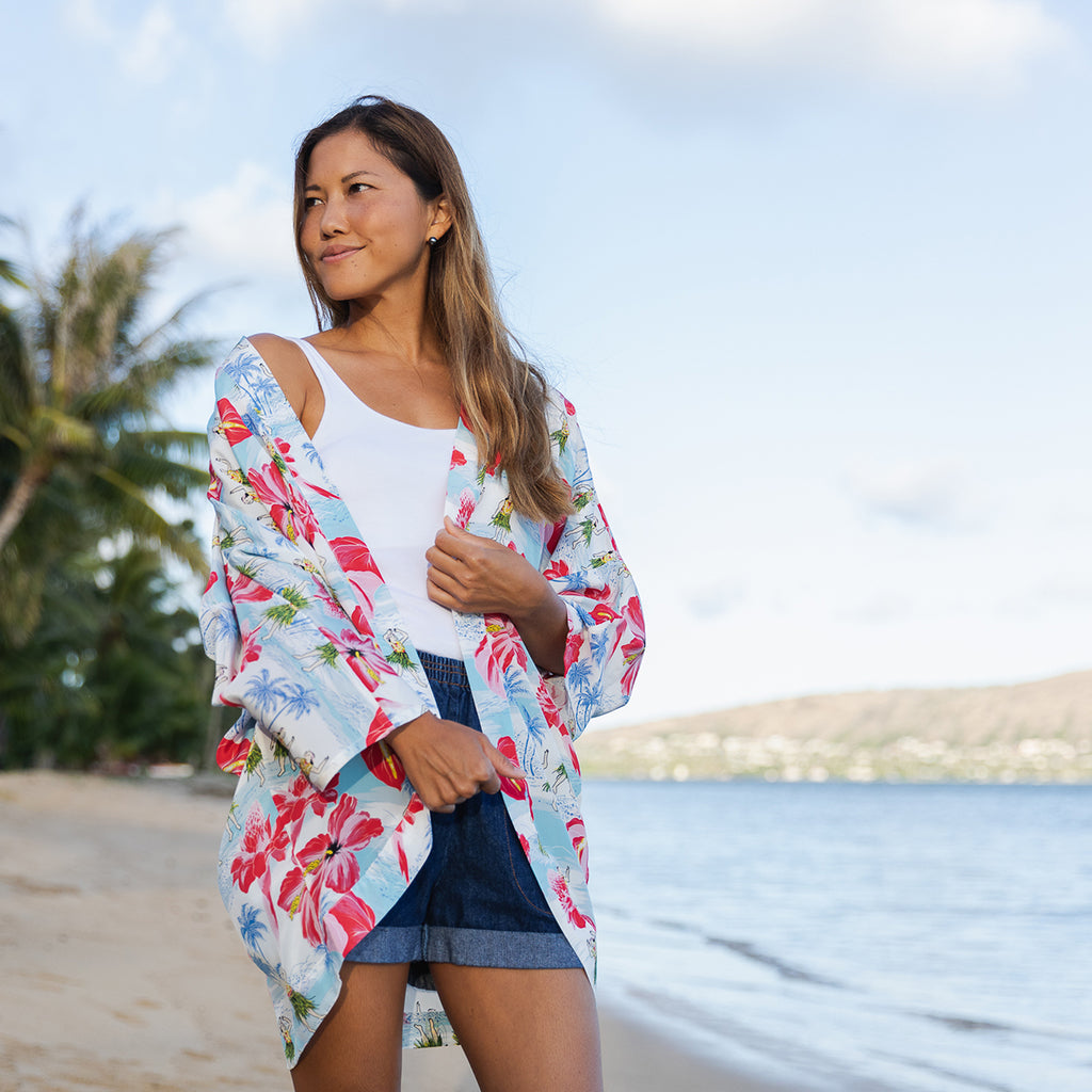 Women's Spirit of Hula Kimono Cover-Up - Blue