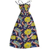 Women's Big Floral Long Halter Dress