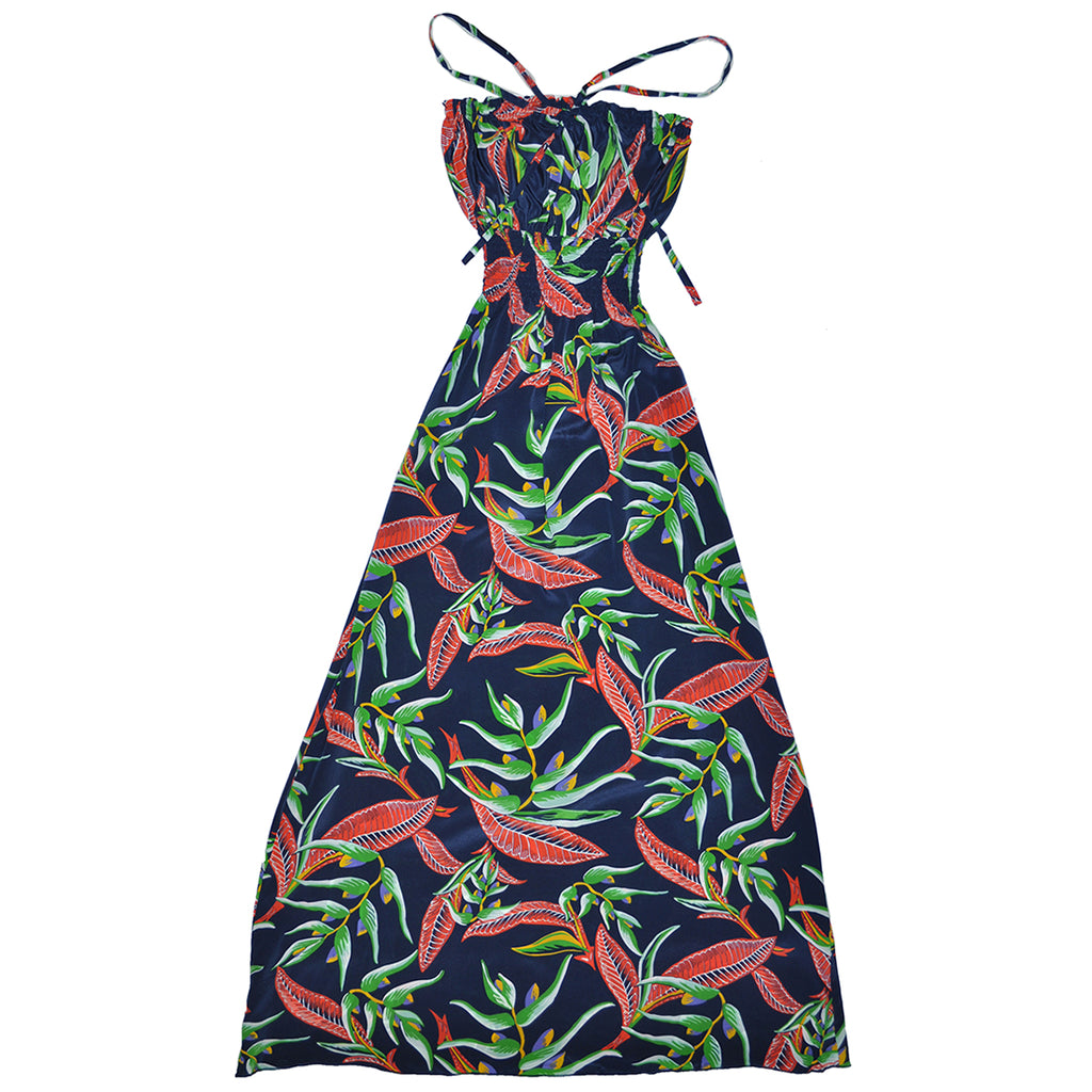 Women's Paradise Floral Long Halter Dress - Navy